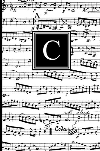 C: Musical Letter C Monogram Music Journal, Black and White Music Notes Cover, Personal Name Initial Personalized Journal, 6x9 Inch Blank Lined College Ruled Notebook Diary, Perfect Bound, Soft Cover