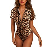 AMABILEMIA Body sexy para mujer de manga corta de verano con estampado de leopardo, top de fiesta elegante y entallado DS32415 - S