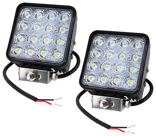 Preisvergleich Produktbild Leetop 2x48W 16 LEDs Flutlicht LED Arbeitsscheinwerfer Außenstrahler Offroad Lampe Zusatzscheinwerfer für Jeep SUV 12-24V Schwarz Aluminium Druckguss IP67