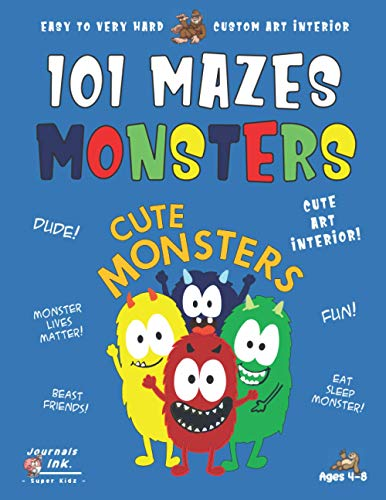 Monsters Maze Book for Kids Ages 4-8: 101 Puzzle Pages. Custom Art Interior. Cute fun gift! SUPER KIDZ. Happy Friends. (Animals MN4)