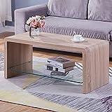 GOLDFAN Table Basse Salon Design Table Basse Rectangulaire Bois Table de Salon Verre Meuble TV Chêne