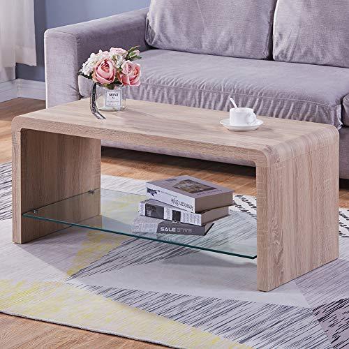 GOLDFAN Tavolino Rettangolare Lucido Tavolino da caffè per Soggiorno Camera da Letto Design Moderno Legno,Marrone Chiaro