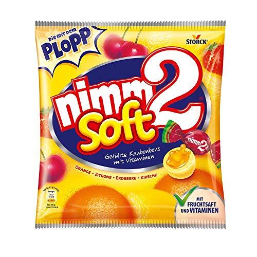 nimm2 soft – (195g Beutel) – Kleine Bonbons mit flüssiger Fruchtsaftfüllung und Vitaminen zum Naschen für Kinder und Erwachsene