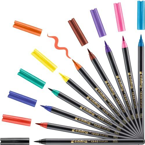 edding 1340 Pinselstift - 10er Set - bunte, leuchtende Farben - flexible Pinselspitze - Filzstift zum Malen, Schreiben und Zeichnen - Bullet Journals, Hand-Lettering, Mandalas, Kalligraphie