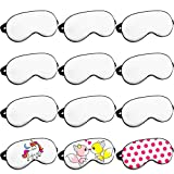 10 Pieces Eye Sleep Coverings Sublimation Beige White Blank Silk Eye Coverings Soft Heat Transfer Sleep Shade Blindfold with Adjustable Strap for Sleeping Travel Nap Meditation Team Games