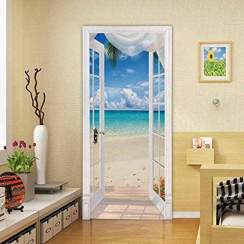 HSKABA Tür Tapete Selbstklebende Tür Wandbild - Landschaft Meerblick - 3D Tür Aufkleber Tapeten Türdekoration Poster - Meer und Strand - Türdekor 77x200 cm