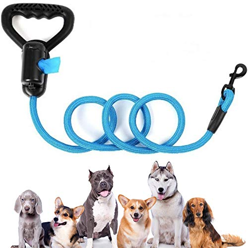 TopNotchFurball 5 ft Heavy Duty Nylon Dog Leash with Waste Bag Dispenser and Reflective Threads - Strong for Small, Medium, Large Dogs – for Walking, Training, Dogs That Pull.