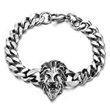 COOLSTEELANDBEYOND Heavy and Study Mens Biker Stainless Steel Lion Head Curb Chain Bracelet, Polished, Punk Rock