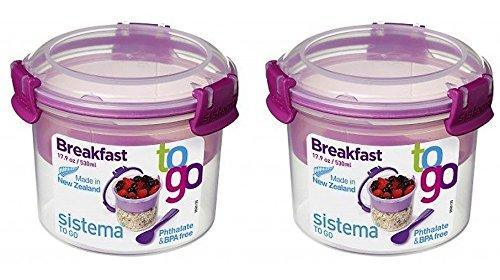 Sistema Müsli to Go Set, Aufbewahrungsbehälter für Lebensmittel mit Unterteilung, 2x530 ml, rosa