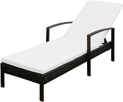 vidaXL Tumbona de Jardín Hamaca de Piscina Asiento Sofa Mueble de Exterior Terraza Patio de Ratán Sintético Negro Cojín Blanco Material Tipo Mimbre: Amazon.es: Jardín