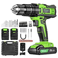 【20 + 3 SETTINGS】 The cordless hammer drill has 20 different torque settings, 3 functions in one tool: drill, hammer drill and electric screwdriver. When used as a drill, it is sufficient with various drills that are attached to the 13 mm collet with...