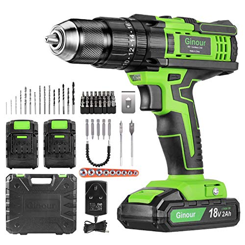 Cordless Drill Driver, ginour 18V Combi Drill, Hammer Drill,20+3 Torque,66 Accessories, 2Pcs 2000mAh Lithium Batteries, 45N.m Electric Drill Screwdriver, 13mm Collet, Double Speed, Led Light