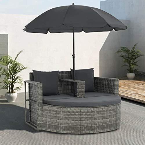 Festnight Polyrattan Gartensofa 2-Sitzer mit Sonnenschirm und Fusshocker |Gartenmoebel Sonneninsel Rattansofa | UV-bestaendige Sonnenschutz für Garten oder Terrasse Sonnenliege Gartenliege Grau