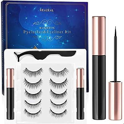 Magnetic Eyelashes With Eyeliner, Magnetic Eyeliner And Lashes, Magnetic Eyelash, Magnetic False Lashes with Magnetic Eyeliners Kit Easy To Wear