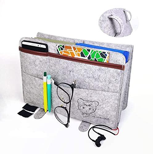 SLASHCOOL Bedside Caddy, Anti-Slip Felt Hanging Storage Organizer with Added Hook&Loop Perfect Tablet Holder for Bedroom, Dorm Room, Bunk Beds, Sofa, Living Room, Hospital Bed