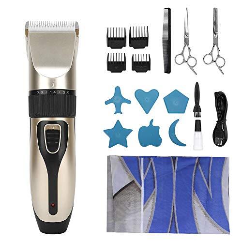 Tondeuse à Cheveux électrique Domestique, Tondeuse Professionnelle de Chargement USB, 4 Peignes de Guidage, Ensemble D'outils de Coupe de Cheveux pour Enfants en Acier Inoxydable(Champagne Gold)