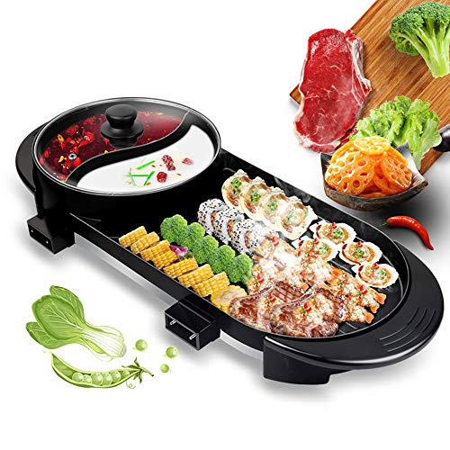 YU-TOPQSC Grill Indoor Hot Pot, Multifunctional Teppanyaki Grill/Shabu Pot with Divider Separate Dual Temperature Contral, Capacity for 6 People Family Gatherings. (110V)