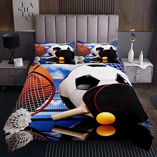 Juego de cama de baloncesto para cama de baloncesto con estampado de pingpong 3D, funda de edredón para hombres, niños, adolescentes, niños, ropa de cama de 2 piezas, color...