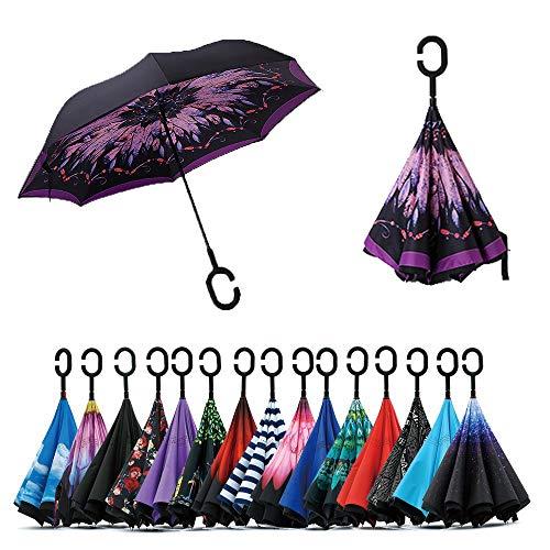 Paraguas de doble capa invertido Jooayou con mango en forma de C, plegable, resistente a los rayos UV y al viento, para viajar, con bolsa de transporte, Mujer, Feather