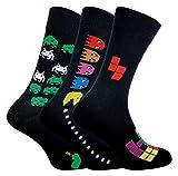 Sock Snob Calcetines Divertidos Hombre   Calcetas Videojuegos   3 Pares (39-45, Pac Man/invasores del espacio/Tetris)