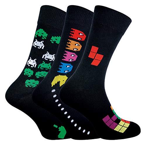 Mens Retro Gaming Socks 7-12, 3 Pack, Sizes 7-12 US, Pac Man / Space Invaders / Tetris Themes