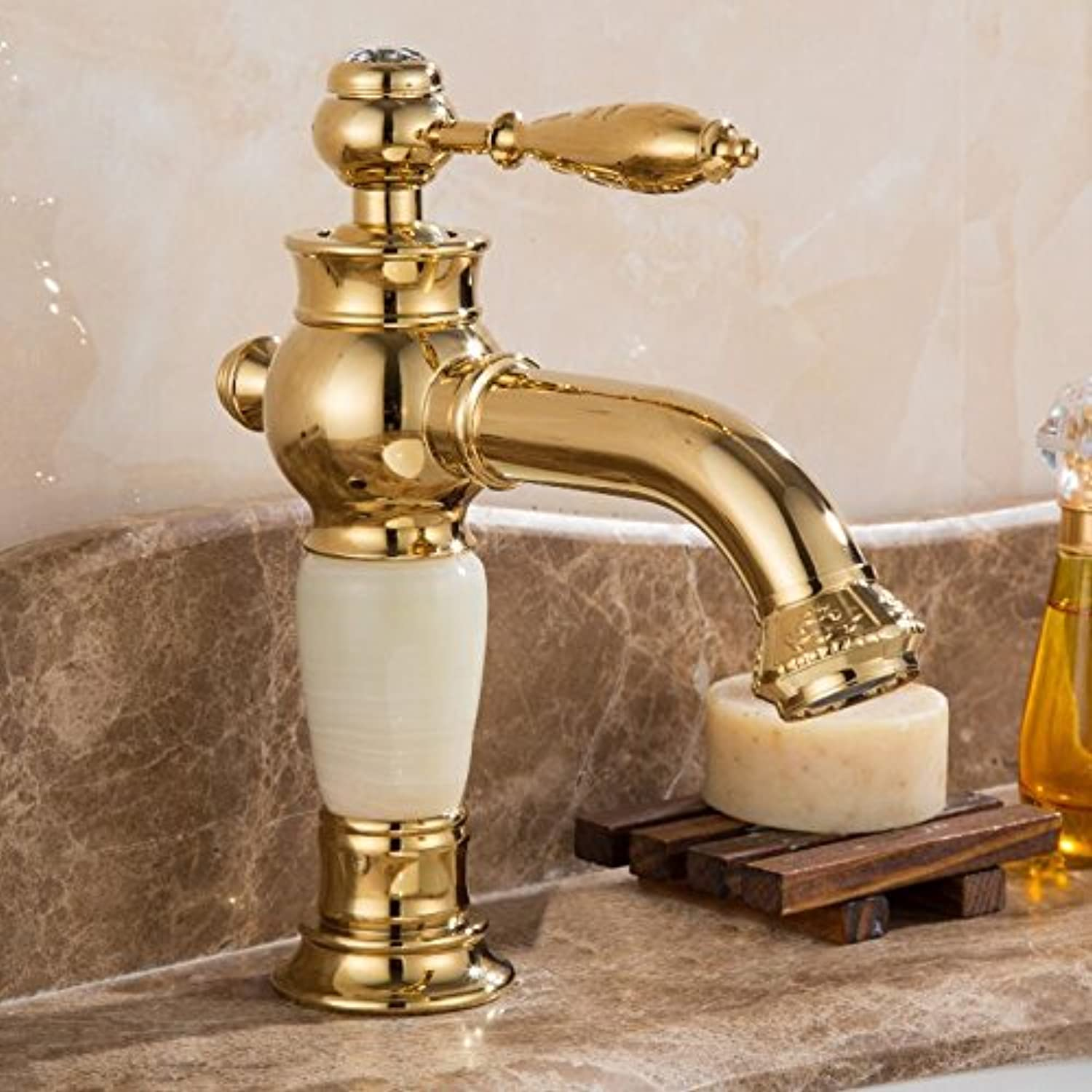 Maifeini Faucet, Faucet, Faucet, Wash Your Face, Wash Your Hands, Deck Mounted Brass And Jade Bathroom Faucet Basin Series Mixer Click gold Heat Sink Faucet Bath Faucet Basin Sink, Short And