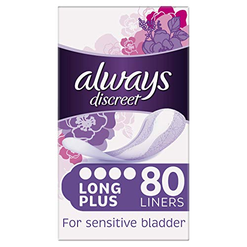 Always Discreet Incontinence Liners for Women, Long Plus, 80 High...