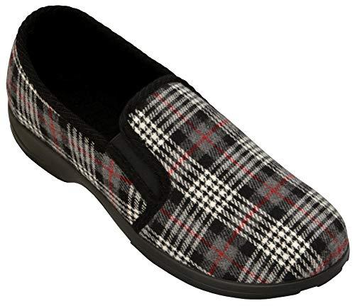 BeComfy Heren Vilten Pantoffels Gevoerd Scheerwol Warme Pantoffels Wol Vilt Geruit Voor Mannen 40, 41, 42, 43, 44, 45, 46 (41, Grijs Vierkant, numeric_41)