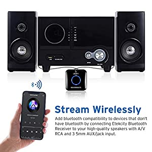 Bluetooth Audio Adapter for Music Streaming Sound System, Bluetooth Transmitter for Receiver A/V RCA and Car Stereo 3.5mm AUX Input, Unify