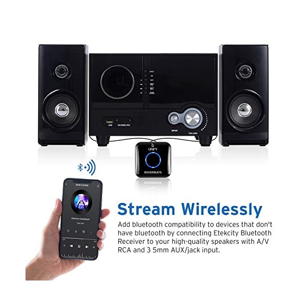 Bluetooth Audio Adapter for Music Streaming Sound System, Bluetooth Transmitter for Receiver A/V RCA and Car Stereo 3.5mm AUX Input, Unify 4