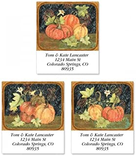 Fruitful Fall Square Thanksgiving Return Address Labels (3 Designs) - Set of 144 1-1/2 x 1-3/4 Autumn Self-Adhesive, Flat-Sheet labels