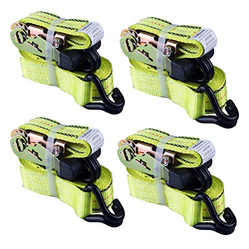 """Autofonder 4PC 1.5"""" x15ft Ratchet Straps Heavy Duty-3000 lbs Break Stength,1000lbs Working Load-Cargo Tie Down Straps with Coated Double J Hooks for Securing Household Appliances, ATVS or Motorcycles"""