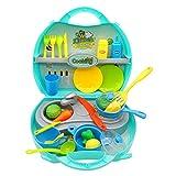 Nuheby Rollenspiel Kche Kinder Kche Spielzeug Tragbar Kinderkche Pdagogisches Spielzeug Kinderkche Zubehoer 3 4 5 6 Jahre Mdchen Junge(34pcs)