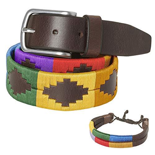 PELPE - Cinturón argentino de piel, con pulsera de hilo y cuero a juego. Cinturón bordado sobre cuero, para hombre y mujer. Cinturones argentinos Polo (80)
