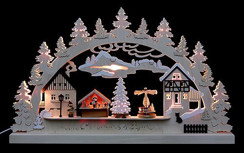 Candle Arch - Christmas Village - 62x37x5,5cm / 24x14x2 inch - Authentic German Erzgebirge Candle Arches - Michael Müller