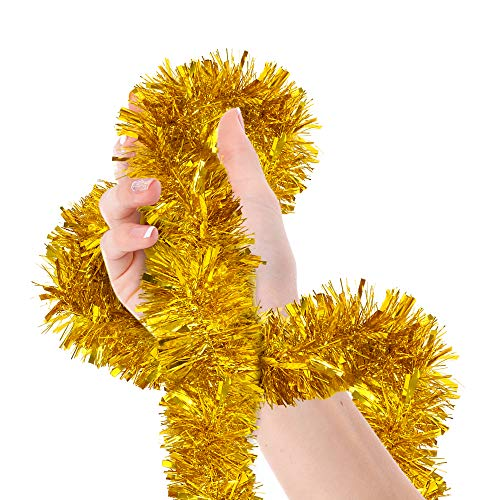 Christmas Tree Gold Tinsel Garland Wide Cut Metallic Streamers Celebrate a Holiday New Years Eve Happy Party Ceiling Hanging Decorations Indoor and Outdoor Disco Party Supplies