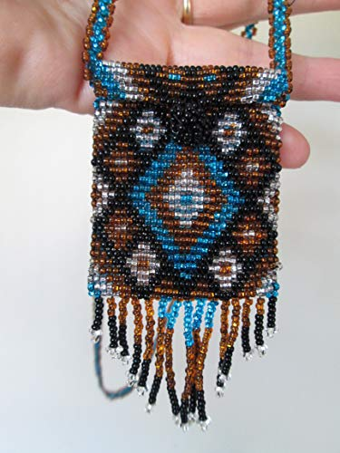 blue silver black gold geometric Hand beaded Guatemalan central american Native medicine bag stash pouch necklace fair trade southwest glass beads Aztec Indian design Ethnic bead