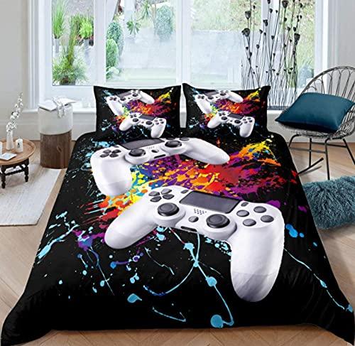 Juego de cama doble de 200 x 200 cm, juego de cama de 3 piezas, juego de cama de flores para adultos, funda de edredón con dos fundas de almohada con cierre de cremallera, flores de microfibra suave