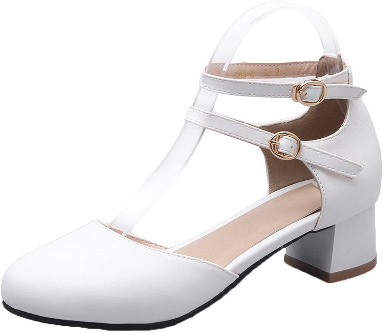 WeenFashion Women's Round-Toe Low-Heels Soft Material Solid Buckle Pumps-shoes