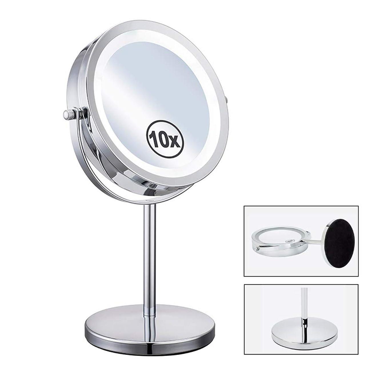 実現可能性文句を言う永久LED照明付き化粧鏡、10倍拡大鏡、360°回転式両面化粧鏡、寝室または浴室に適しています、7インチ