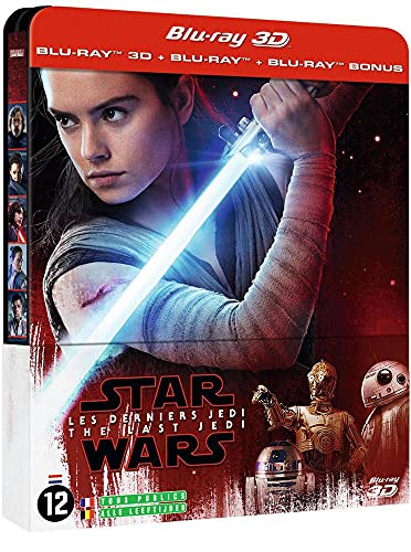 Star Wars : Les Derniers Jedi - Steelbook Blu-ray 3D + Blu-ray 2D + Blu-ray Bonus [Blu-ray 3D + Blu-ray + Blu-ray Bonus - Édition limitée boîtier SteelBook]