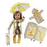 Uteruik - Maleta Impermeable para muñeca de 46 cm, diseño de Chica Americana de 18 Pulgadas, Color Brillante, Funda de Viaje, Paraguas, Botas de Vestir, 4 Piezas por Juego (#A)