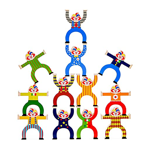 Wooden Circus Clowns Stacking Toys, Jester Balance Blocks Game for Kids, Toddler Wood Toy Stacking...