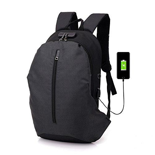Rugzak van de Computer, multifunctionele USB Charging Backpack Creative Fashion Men's College Student Bag Vrije tijd Computer,Plaid dark gray