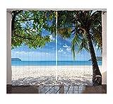 Aymsm Cortinas de Verano Playa Tropical Océano detrás de Palmera Caribe Exótico Salón de Vacaciones Dormitorio Cortinas de Ventana