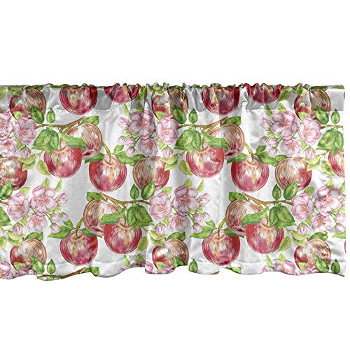 Ambesonne Victorian Window Valance, Apple Tree in Summer Time with Flowers Nature Scenery Cultural Artwork Print, Curtain Valance for Kitchen Bedroom Decor with Rod Pocket, 54' X 12', White Green