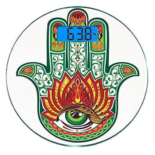 Digitale Präzisionswaage für das Körpergewicht Runde Hamsa Ultra dünne ausgeglichenes Glas-Badezimmerwaage-genaue Gewichts-Maße,Kultur des Nahen Ostens Hamsa Hand der Fatima-Figur mit dem Motiv 'Verte