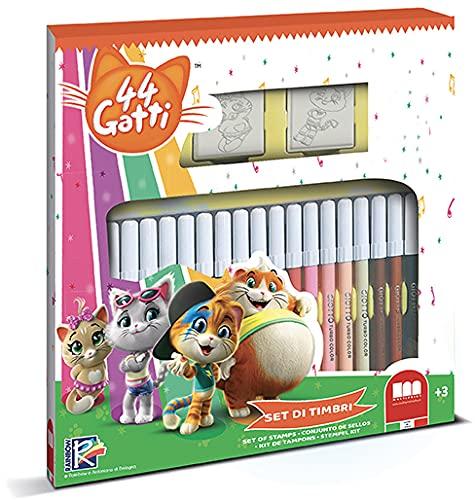Multiprint Set 2 Sellos para Niños y 18 Marcadores de Colores 44 Gatti, Made in Italy, Set Sellos Niños Persolanizados, en Madera y Caucho Natural, Tinta Lavable no Tóxica, Idea de Regalo, Art.86986