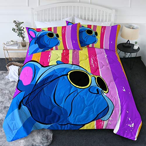 BlessLiving Blue Puppy Dog Comforter Set French Bulldog Bedding Set Bright Rainbow Stripes Bed Set 3 Piece Cute Animal Bedspreads for Boys Girls (Twin/Twin XL)