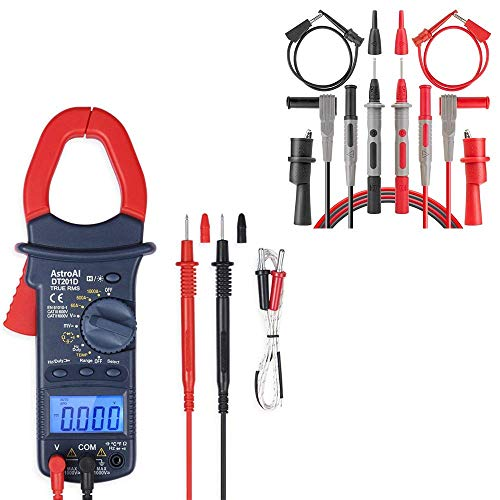 AstroAI Clamp Meter Multimeter Test Leads Kit | TRMS 6000 Counts Multimeter Volt Amp Ohm Meter Multimeter Test Leads Kit